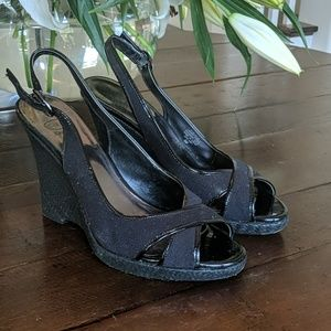 😍Joan & David Espadrill Black on Black Patent